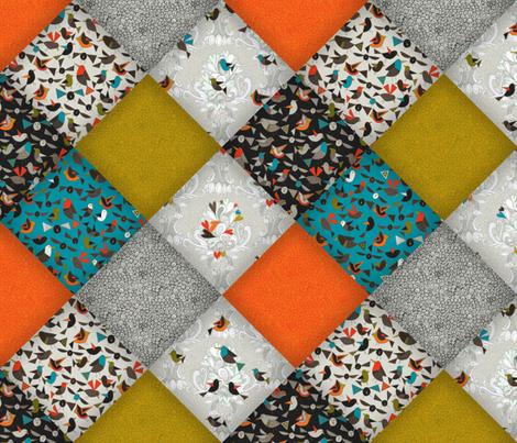 bird love diamonds fabric by scrummy on Spoonflower - custom fabric