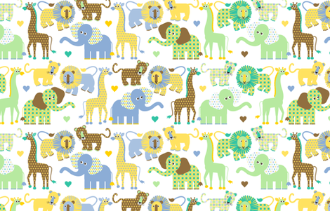 Cuddly Safari fabric by tracymillerdesigns on Spoonflower - custom fabric