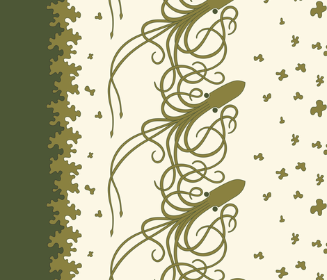 Squid_Border_Print-Green fabric by meduzy on Spoonflower - custom fabric