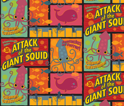 Squid Attack fabric by jennartdesigns on Spoonflower - custom fabric