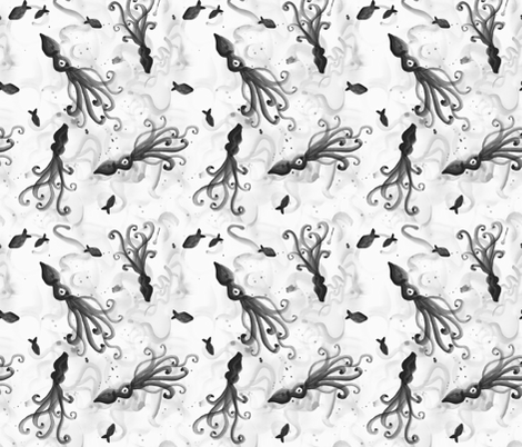 Inky Squid fabric by minimiel on Spoonflower - custom fabric