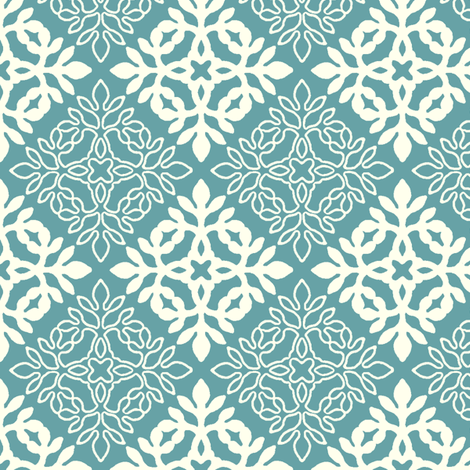 RICH TURQUOISE mini-papercut3-solid-outlines fabric by mina on Spoonflower - custom fabric