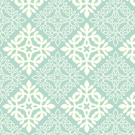 SEAFOAM-new mini-papercut solid-outlines fabric by mina on Spoonflower - custom fabric