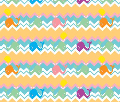 chevron whale ©2012 Jill Bull fabric by palmrowprints on Spoonflower - custom fabric