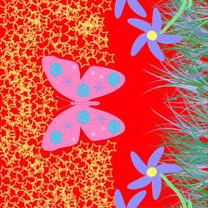 Snow-Butterfly at Starry Flowers Field (in red colorway)