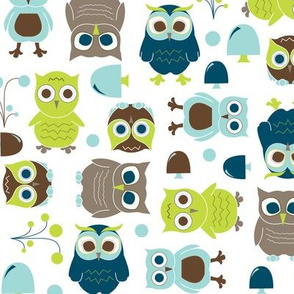 Owls, in Blue - In The Land of Boys
