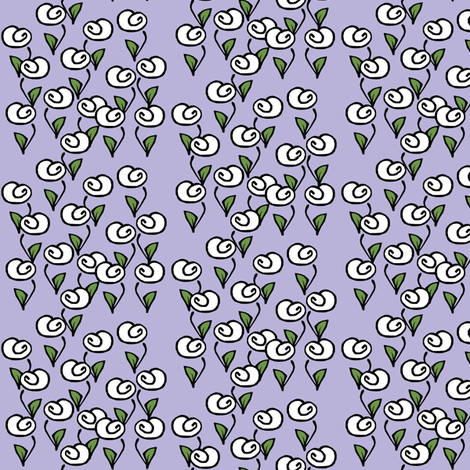White Flowers on Lilac fabric by pond_ripple on Spoonflower - custom fabric