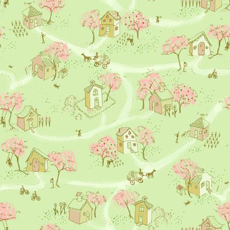 Springtime Map Of Our Little Neighborhood fabric by cathyheckstudio on Spoonflower - custom fabric