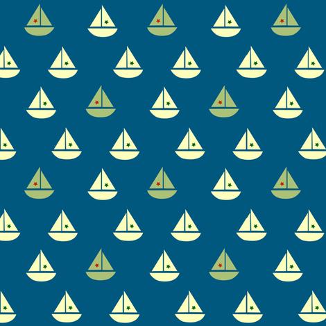 one green boat fabric by krihem on Spoonflower - custom fabric