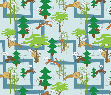 lions and tigers and bears fabric by circlesandsticks on Spoonflower - custom fabric