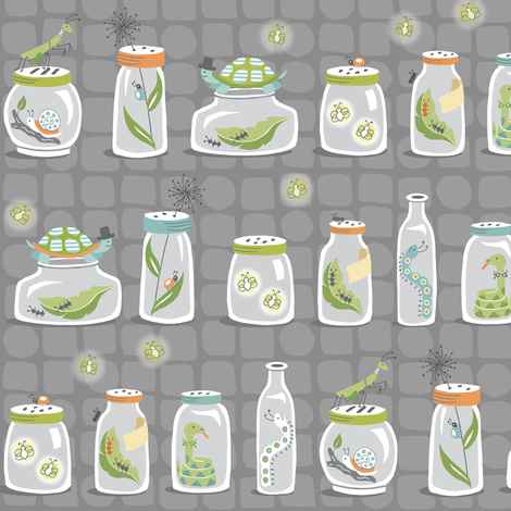 Bug Jars at Night fabric by pattysloniger on Spoonflower - custom fabric
