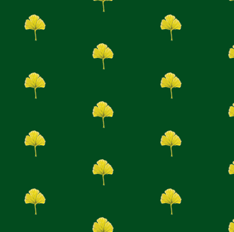 Ginkgo Leaf- Dkgreen fabric by snazzyfrogs on Spoonflower - custom fabric