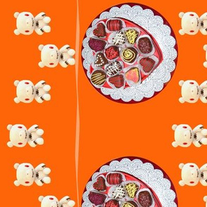 Chocolate Platter and Chocolate Bunny lace (in orange colorway)