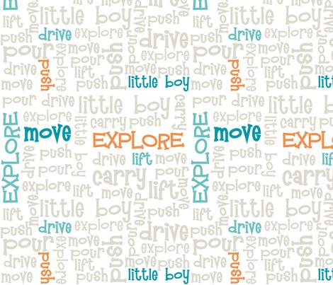 Little Boy Explorer Words - Subway Art fabric by dawnams on Spoonflower - custom fabric