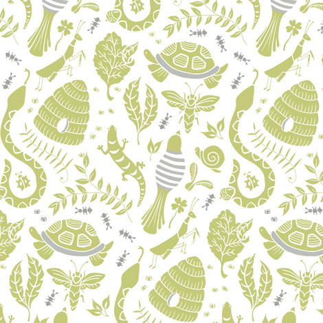 Backyard Party - Green fabric by pattysloniger on Spoonflower - custom fabric