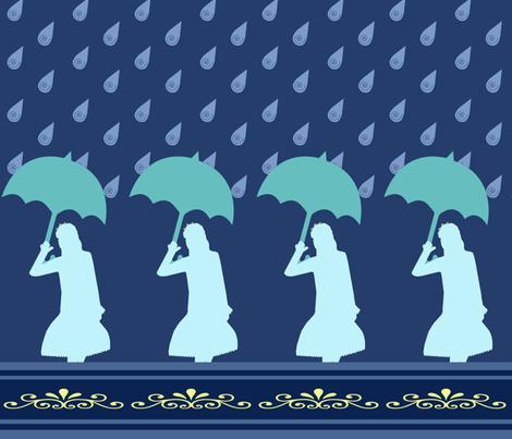 Princess Silhouette in Rain fabric by snowsparklegems on Spoonflower - custom fabric