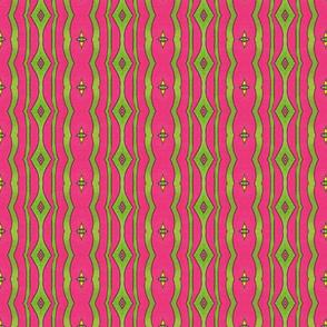 Peacock Stripe Pink/Green