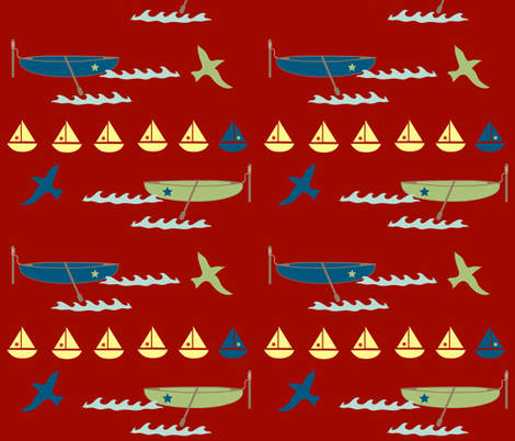 rowboats - red fabric by krihem on Spoonflower - custom fabric