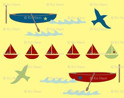 row boat - yellow