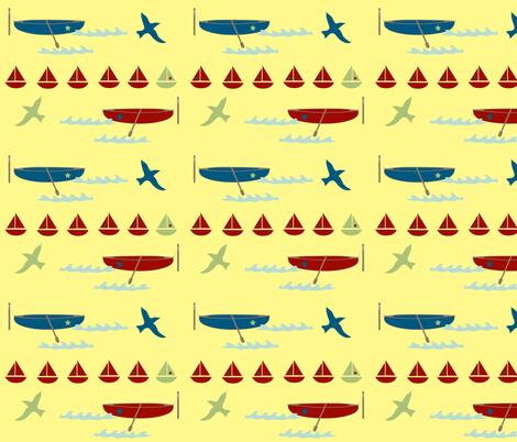row boat - yellow fabric by krihem on Spoonflower - custom fabric
