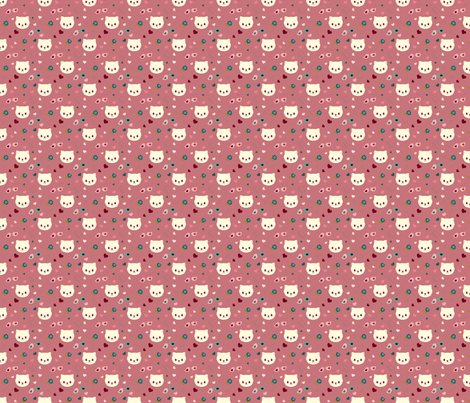 Vampire kitty - pink fabric by blythetoday on Spoonflower - custom fabric