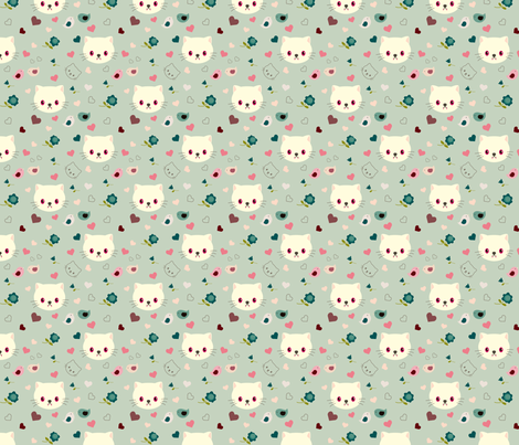 Vampire kitty - blue fabric by blythetoday on Spoonflower - custom fabric