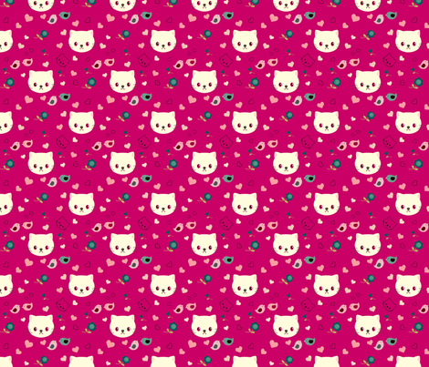Vampire kitty - dark pink fabric by blythetoday on Spoonflower - custom fabric