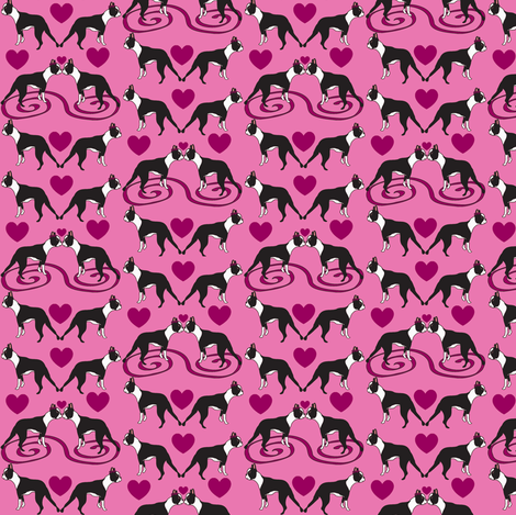 Tiny Little Kissing Boston Terriers fabric by missyq on Spoonflower - custom fabric