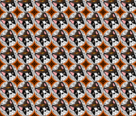Witchypup the Halloween Boston Terrier  fabric by missyq on Spoonflower - custom fabric