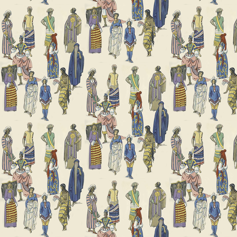 Tiny Worldly Women fabric by susaninparis on Spoonflower - custom fabric