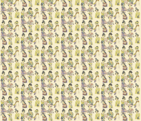 Tiny Japanese Ladies fabric by susaninparis on Spoonflower - custom fabric