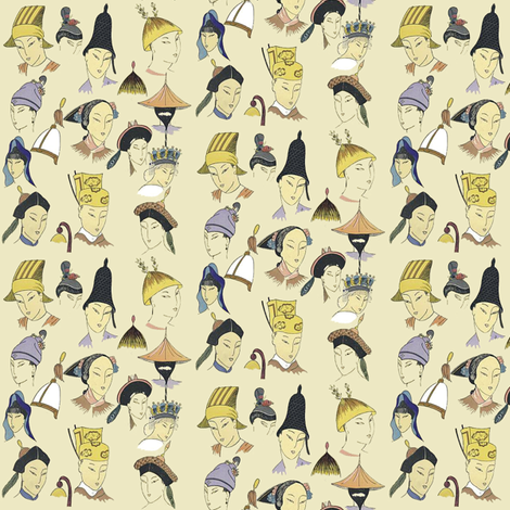 Small Asian Heads fabric by susaninparis on Spoonflower - custom fabric