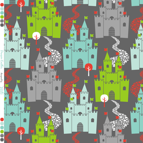 Castle Dreams Grey fabric by zesti on Spoonflower - custom fabric