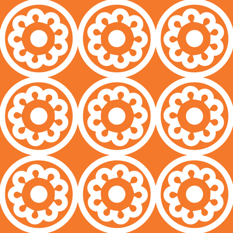 Circle Lattice Cookie Orange fabric by dolphinandcondor on Spoonflower - custom fabric