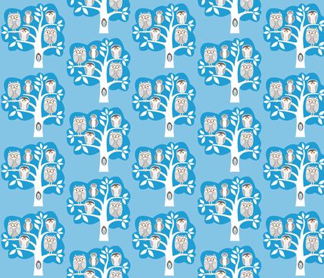 blue_owl_tree fabric by antoniamanda on Spoonflower - custom fabric