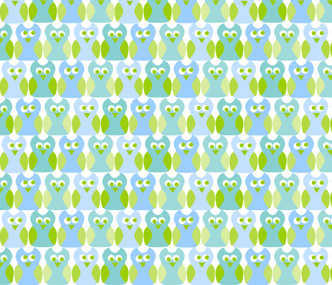 Blue Owl Rosa Pomposa fabric by rosapomposa on Spoonflower - custom fabric