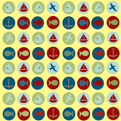 lakeside icons - yellow fabric by krihem on Spoonflower - custom fabric