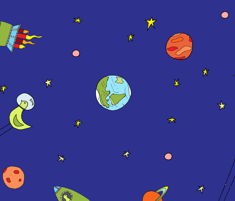 Knobby In Space fabric by ferntreestudio on Spoonflower - custom fabric