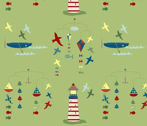 lakeside scenes - green fabric by krihem on Spoonflower - custom fabric