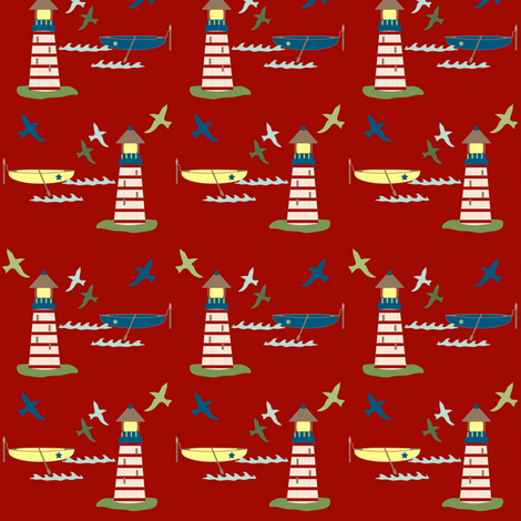 lighthouse and rowboat fabric by thislittlepoppy on Spoonflower - custom fabric