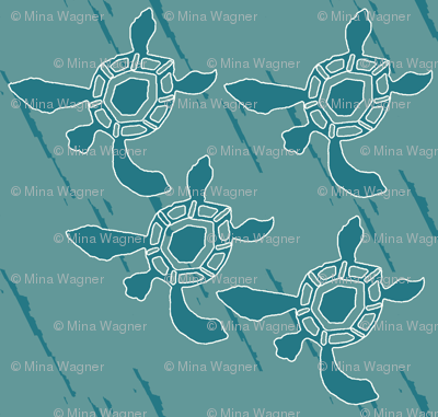 Baby Sea Turtles dkGREENBLUE-on-lines-pattern