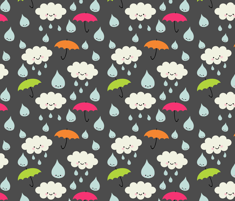 Rain, Rain, DON'T Go Away - gray  fabric by yellowkitty on Spoonflower - custom fabric
