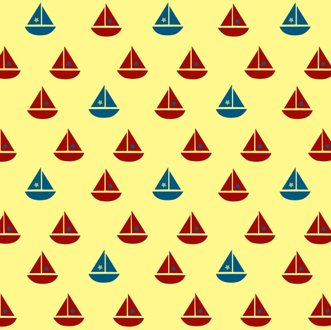 one blue boat fabric by krihem on Spoonflower - custom fabric