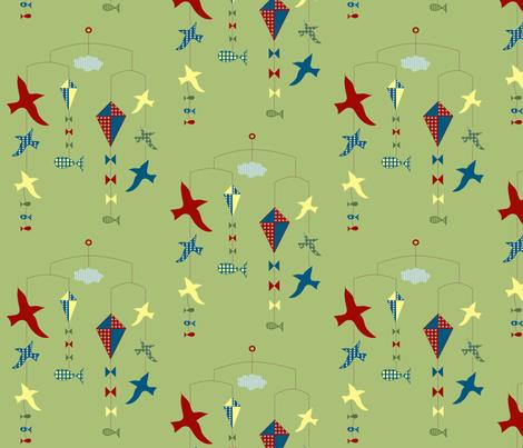 lakeside scenes mobile fabric by krihem on Spoonflower - custom fabric