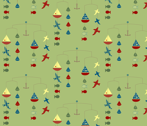 land, sea, and air mobile -  green fabric by krihem on Spoonflower - custom fabric