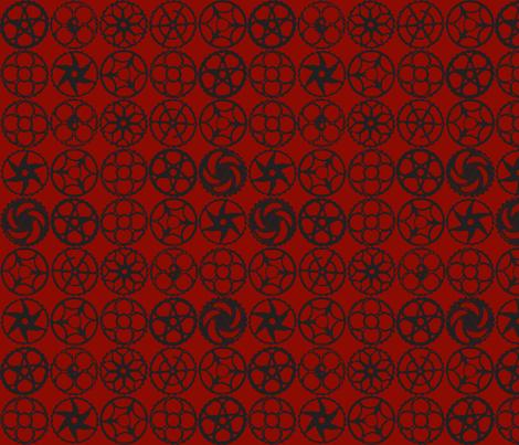 gears in black fabric by luluhoo on Spoonflower - custom fabric