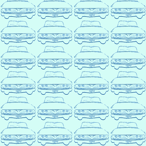 1960 Edsel shadow in blues fabric by edsel2084 on Spoonflower - custom fabric