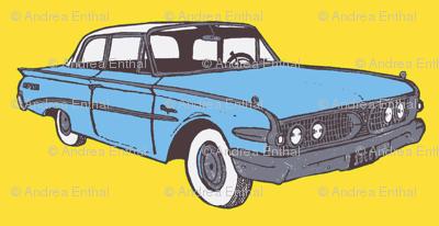 Light Blue 1960 Ranger 2 door sedan on yellow background
