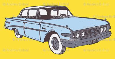 light blue 1960 Edsel Ranger on yellow background