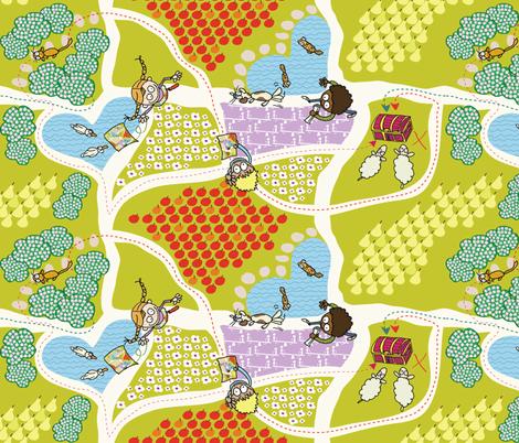 Fruity Flowery Treasure Seeking fabric by betje on Spoonflower - custom fabric